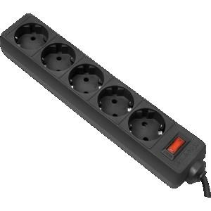 Сетевой фильтр Defender ES, 3м, 5 розеток, черный