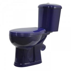 Унитаз-компакт Оскольская Керамика Дора косой выпуск, нижний подвод, сиденье полипропилен, синий