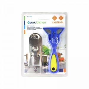 Скребок Euro Kitchen RS-17BY для чистки стеклокерамических синий/жёлтый