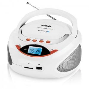 Аудиомагнитола BBK BS09BT, белый/оранжевый